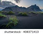 vesturhorn mountain and black... | Shutterstock . vector #408371413