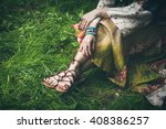 woman legs  on grass in strap... | Shutterstock . vector #408386257