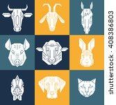 home animal heads   vector set. ... | Shutterstock .eps vector #408386803