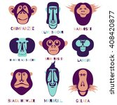icon set. monkey characters.... | Shutterstock . vector #408420877