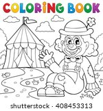 coloring book clown near circus ... | Shutterstock .eps vector #408453313