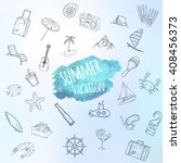 summer objects set. hand drawn... | Shutterstock .eps vector #408456373