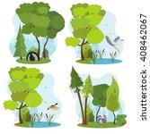 Wildlife Scenes. Isolated Scen...