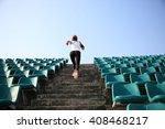runner athlete running on... | Shutterstock . vector #408468217