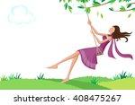 beautiful woman swinging in... | Shutterstock .eps vector #408475267
