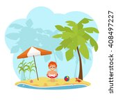 little boy on the beach. boy... | Shutterstock .eps vector #408497227