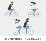 young couple riding bicycle set | Shutterstock .eps vector #408501397