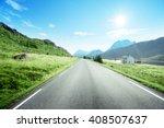 road and fog  lofoten island ... | Shutterstock . vector #408507637