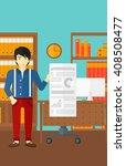man presenting report. | Shutterstock .eps vector #408508477