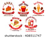 fast food symbols with italian... | Shutterstock .eps vector #408511747