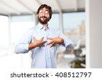 crazy hippie man .happy... | Shutterstock . vector #408512797