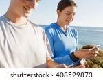 young couple with smartphones... | Shutterstock . vector #408529873