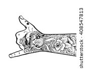 tattooed hand shows shaka... | Shutterstock .eps vector #408547813