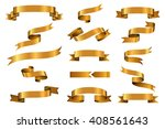 gold glossy curled waving... | Shutterstock .eps vector #408561643