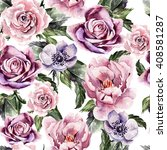watercolor pattern with flowers ... | Shutterstock . vector #408581287