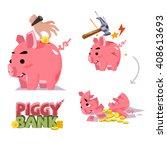 piggy bank in various action.... | Shutterstock .eps vector #408613693