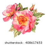 Bright Red Rose Watercolor...