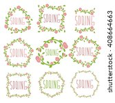set of spring labels with... | Shutterstock .eps vector #408664663