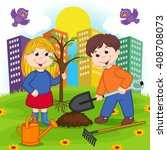 boy and girl planting tree  ...   Shutterstock .eps vector #408708073