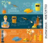 professional welder banner ... | Shutterstock .eps vector #408729703