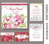 set of wedding cards with... | Shutterstock .eps vector #408733003