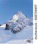Small photo of Stubai Alpen glacier peak with pistes in winter