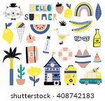 summer icon set. vector... | Shutterstock .eps vector #408742183