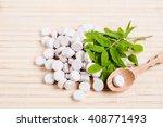 medicine herb. herbal pills... | Shutterstock . vector #408771493
