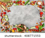 fresh vegetables and spices.... | Shutterstock . vector #408771553