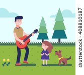 father playing guitar music to... | Shutterstock .eps vector #408810187