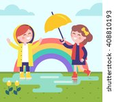 two girls playing in the rain... | Shutterstock .eps vector #408810193