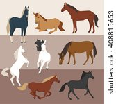 Stock vector various color horses various poses vector design 408815653