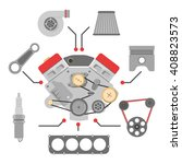 spare parts vector icon set ... | Shutterstock .eps vector #408823573