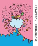 hand drawn doodle party frame... | Shutterstock .eps vector #408829687