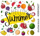 quote hello summer. fashionable ... | Shutterstock .eps vector #408840607