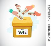 hand putting vote into box.... | Shutterstock .eps vector #408851083