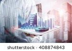 presenting average sales report   Shutterstock . vector #408874843