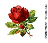 one red rose. wedding drawing.... | Shutterstock .eps vector #408888433