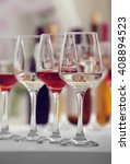 Wine Glasses With Red And Whit...