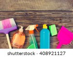 cleaning products on wooden... | Shutterstock . vector #408921127
