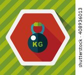 kettlebells flat icon with long ... | Shutterstock .eps vector #408936013