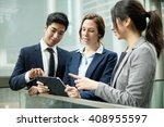 business people discuss on... | Shutterstock . vector #408955597