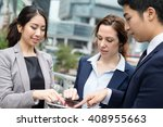 business people finger touch on ... | Shutterstock . vector #408955663