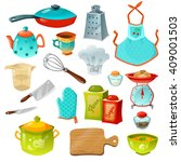 Cooking Decorative Icons Set O...