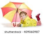 little cute girl in the yellow... | Shutterstock . vector #409060987