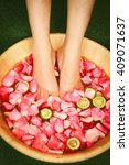 closeup shot of a woman feet... | Shutterstock . vector #409071637