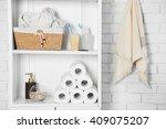 bathroom set with towels ... | Shutterstock . vector #409075207