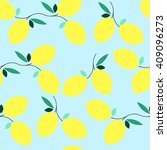 summer seamless lemon pattern.... | Shutterstock .eps vector #409096273