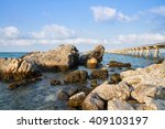 bridge pier extending into the... | Shutterstock . vector #409103197