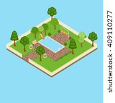 isometric garden with swimming... | Shutterstock .eps vector #409110277